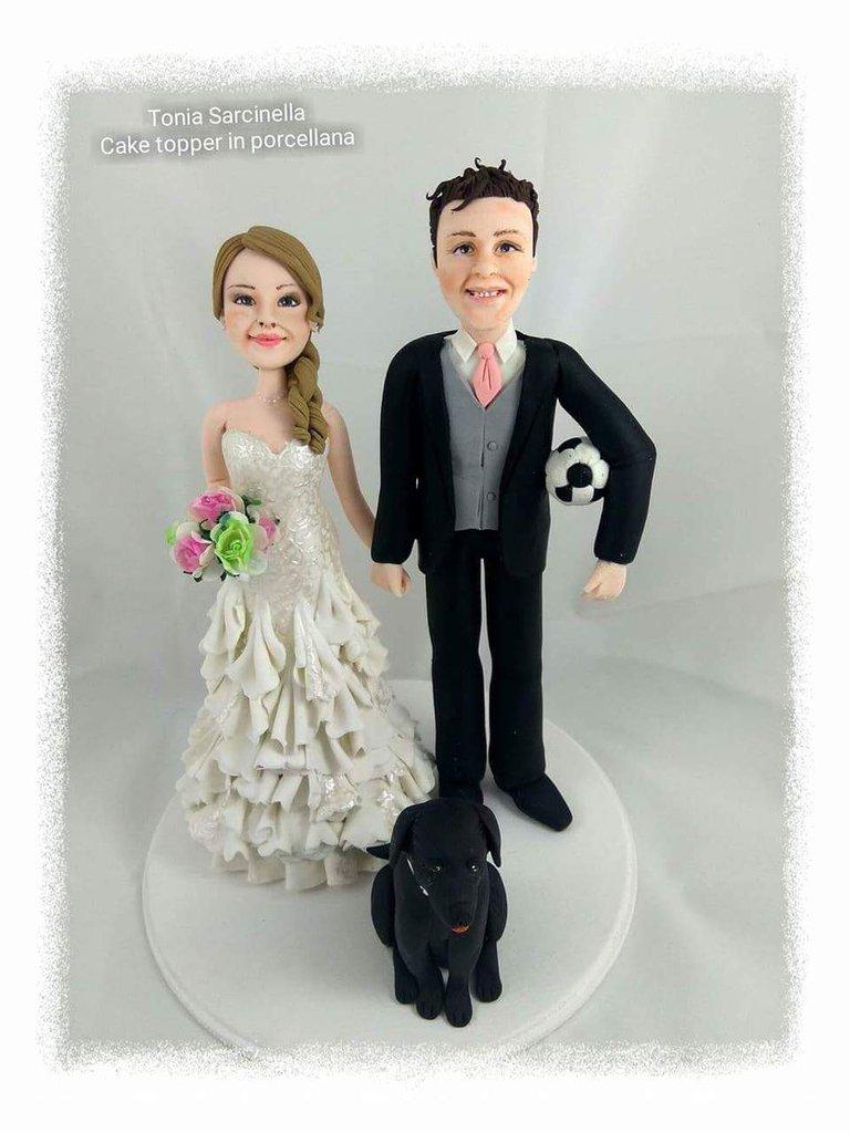 Cake topper Sposi con labrador nero