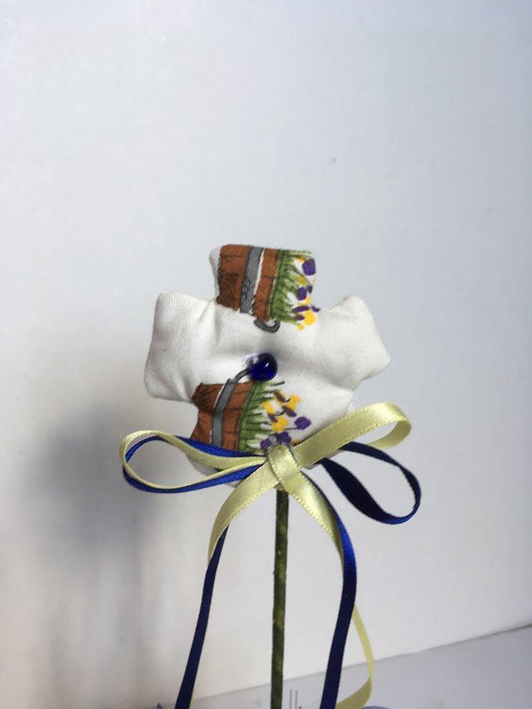 Vaso di  vetro con fiore di stoffa profumato, vasetto con fiore di tessuto, fiore con lavanda