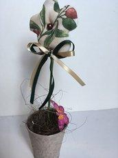 Vaso di latta corda con fiore di stoffa  profumato