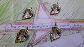 4 charms ciondoli 'Foglia' in argento tibetano