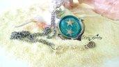 Collana mare resina stelle marine vere ancora argentato acciaio anallergico