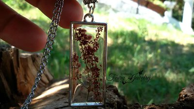 Collana fiori naturali botanica acciaio inossidabile anallergica