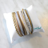 Bracciale multifile silver gold in ecopelle