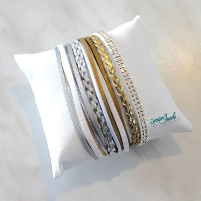 Bracciale multifile silver-white-gold in ecopelle