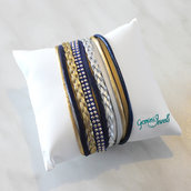 Bracciale multifile silver-blue-gold in ecopelle
