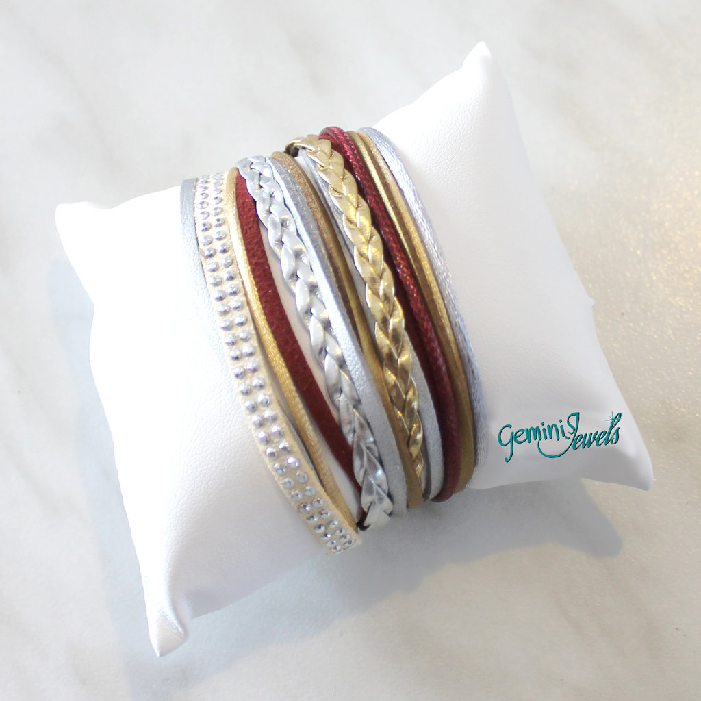 Bracciale multifile silver-bordeaux-gold in ecopelle