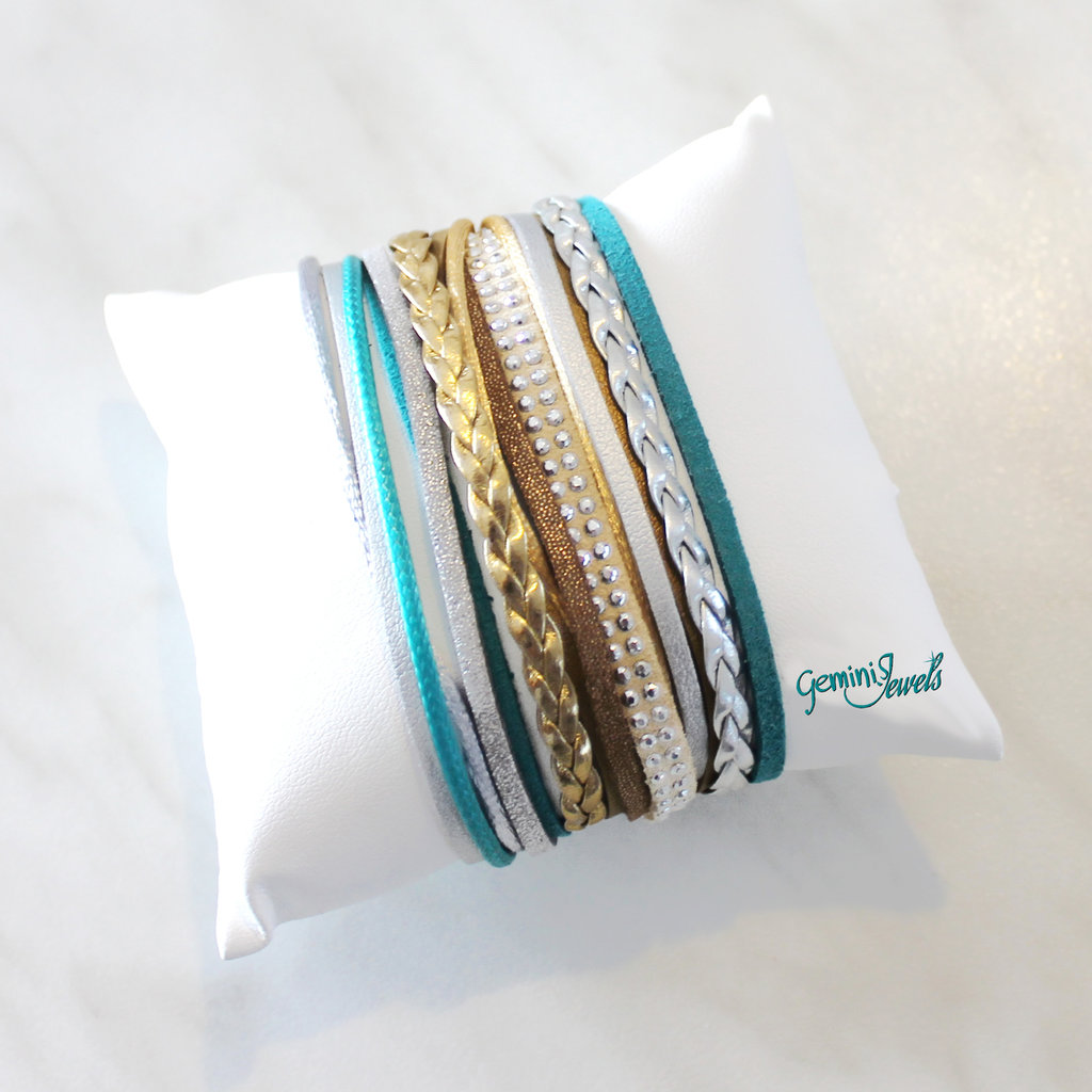 Bracciale multifile silver-teal-gold in ecopelle