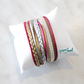 Bracciale multifile silver-fuxia-gold in ecopelle
