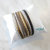 Bracciale multifile silver-brown-gold in ecopelle