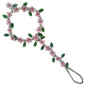 BRACCIALE-ANELLO - realizzato artigianalmente con fiori e foglie di ciliegio serigrafati in smalto a cottura