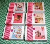 Lotto Scatoline PortaOggetti e SegnaPosto - Collezione Vintage *Tè e Cupcake* (6pz)