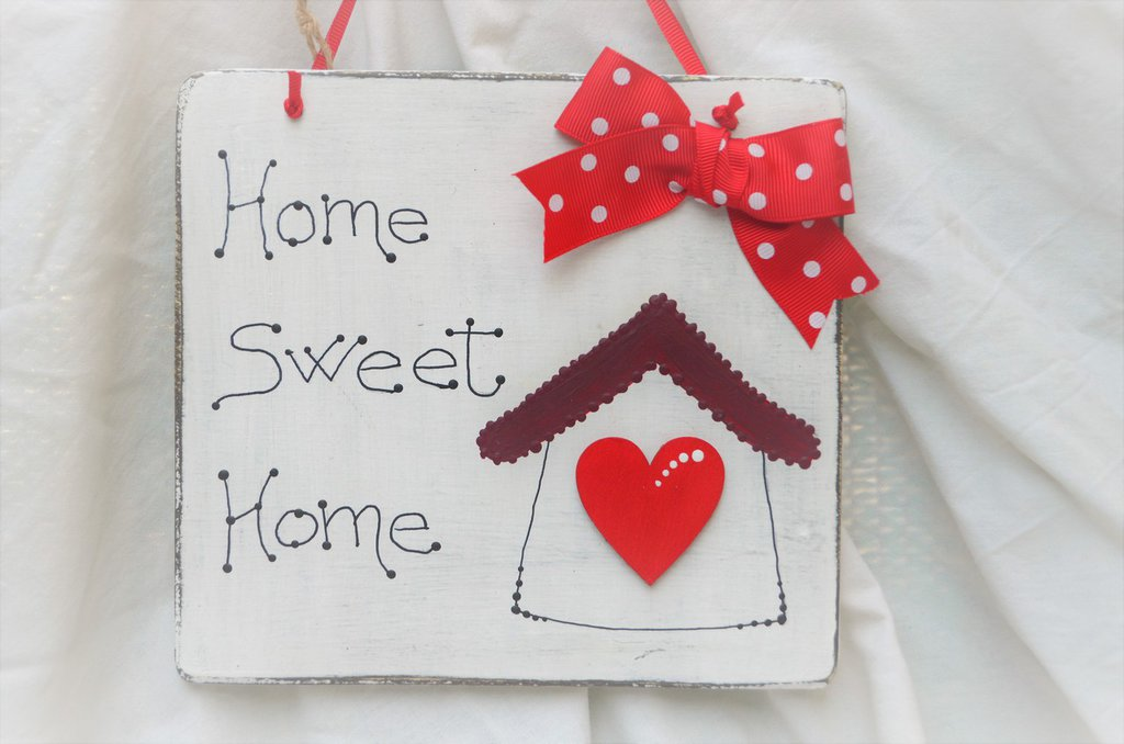 "TARGHETTA FUORIPORTA  "" HOME SWEET HOME "" SHABBY CHIC"
