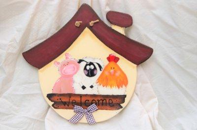 Casetta  Pittura country Welcome con animali fattoria