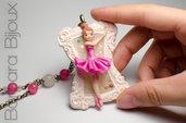 """Collana lunga """"le piccole ballerine"""" ballerina rosa su cammeo in pasta polimerica."""
