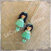 Collana con bambolina ispirata alle Gorjuss in pasta di mais