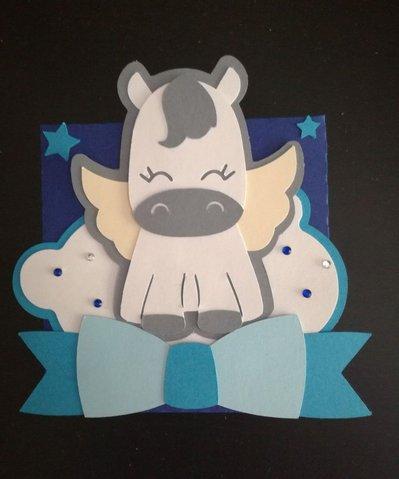 Scatolina scatola bomboniera confetti segnaposto battesimo compleanno nascita cavallo pegasus