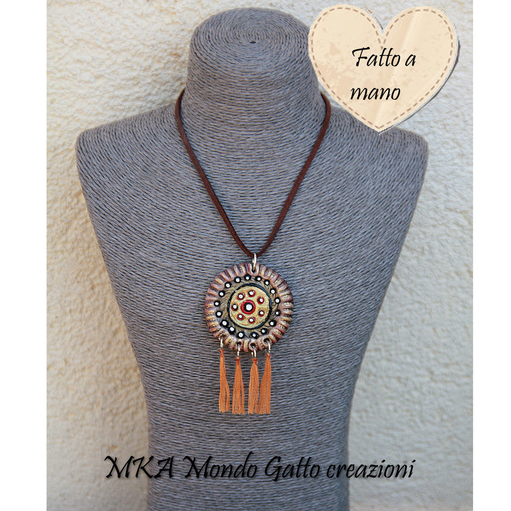 Ciondolo in Fimo e Cotone collana inclusa Stile Mandala