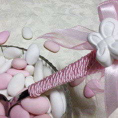 Cucchiaio per confetti, rosa con farfalla
