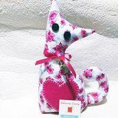 Gatto fermaporta a fiori - rosa e celeste