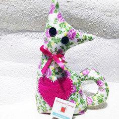 Gatto fermaporta a fiori - rosa e verde