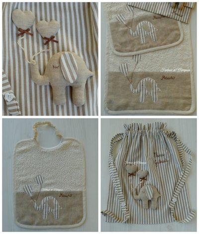 Set asilo bimbo bimba - Sacca,asciugamano,bavaglino - Idea regalo