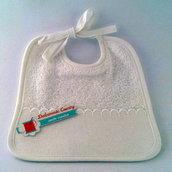 Bavaglino di cotone bianco ricamato personalizzato