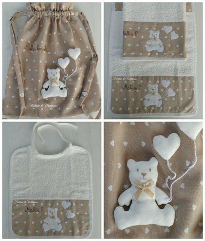 Set asilo bimbo bimba - Sacca,asciugamani,bavaglino,portabavaglino