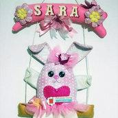 Coniglietta su altalena - fiocco nascita o decorazione