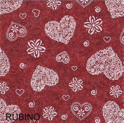 Pannolenci stampato romantic color rubino (rosso scuro melange) 20cm x 180cm