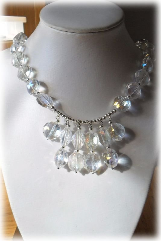 Collana perle vetro tonde trasparenti