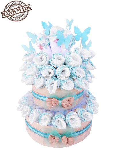 TORTA DI PANNOLINI Pampers Baby Dry tg. 3 blue tiffany