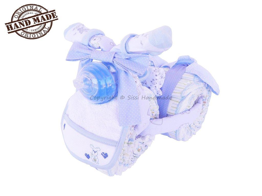 Torta TRICICLO di pannolini bimbo tg. 3, 4-9kg con accessori per il neonato