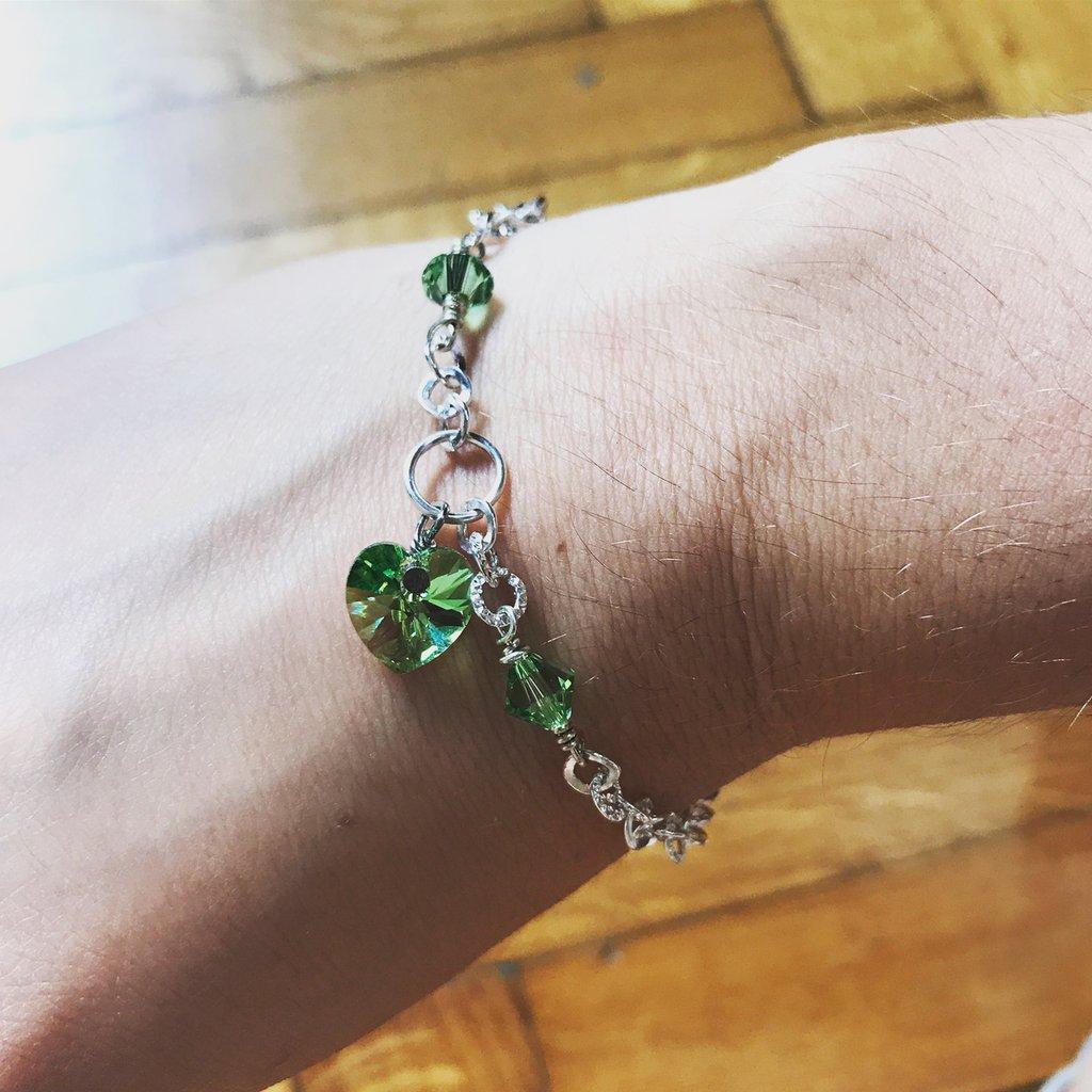 Bracciale cuore Swarovski - Verde