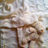 copertina neonato fatta a mano lana merino baby per culla e carrozzina- battesimo regalo nascita