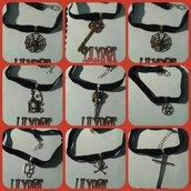 collarino velluto vari modelli croce corvo chiave ragnatela teschio argento bronzo
