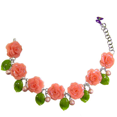 BRACCIALE ROSE - realizzato artigianalmente con rose e foglie di rosa serigrafate in smalti a cottura.