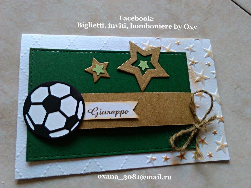 Biglietto d'auguri / invito / Compleanno / calcio / pallone.