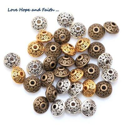 LOTTO 50 perle distanziatori in metallo (6,5mm) (cod.mix b.r.a)