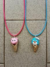 Collanine con maialino e pinguino Ice Cream fimo