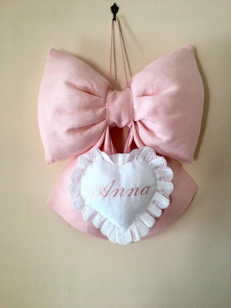 Fiocco nascita rosa in puro lino