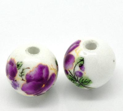 Perle in ceramica a fiori 12mm 10pz