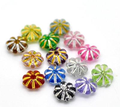 500 Perle acriliche a fiore decoro metallizzato