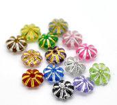 60 Perle acriliche a fiore decoro metallizzato