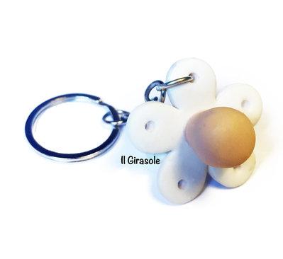 Portachiavi ciuccio in pasta polimerica fimo: idea regalo, bomboniera, baby shower, nascita