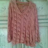 maglia donna lavorata a mano lino con maxi trecce cotone  pull tricot corallo rosa maglione elegante