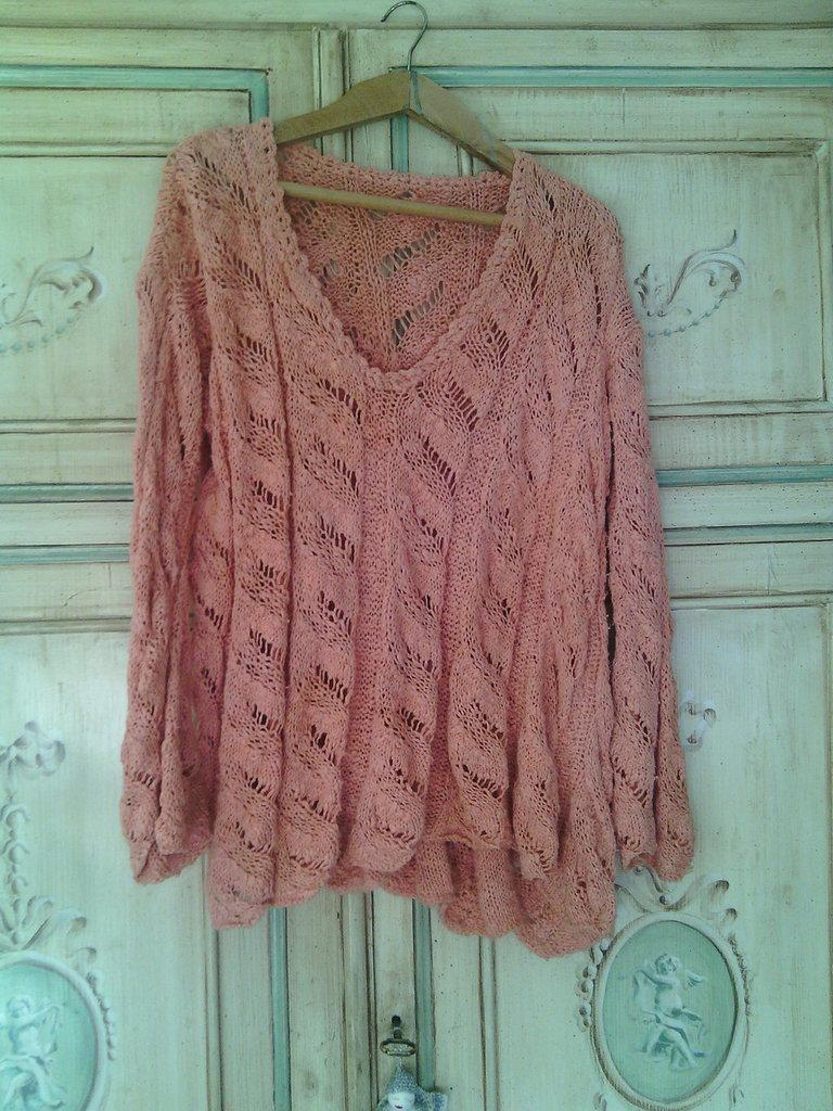f2808ed8e473 maglia donna lavorata a mano lino con maxi trecce cotone pull tricot  corallo rosa maglione elegante