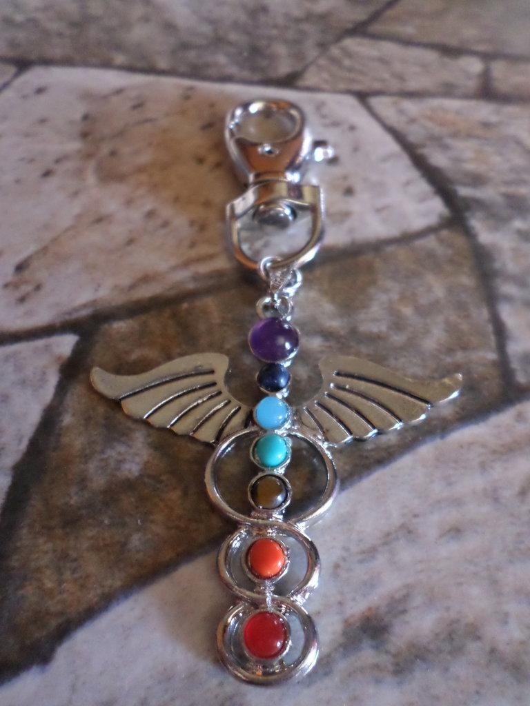 porta chiave sette chakra karma pietre in argento tibetano accessorio