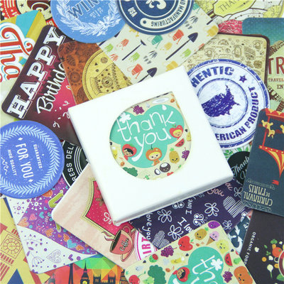 "LOTTO 38 stickers adesivi in carta ""Vintage"" (4x4cm)"