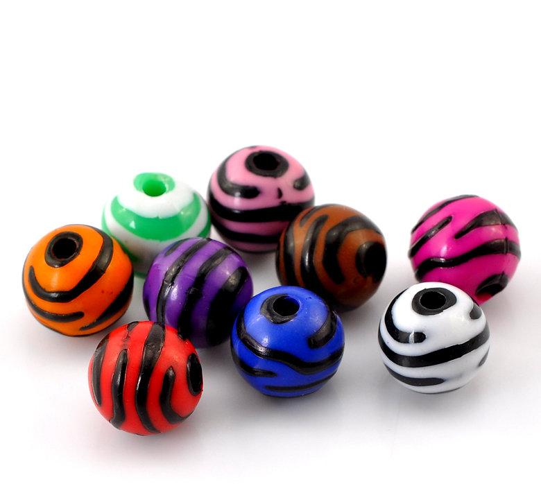 20 Perle acriliche zebrate 12mm