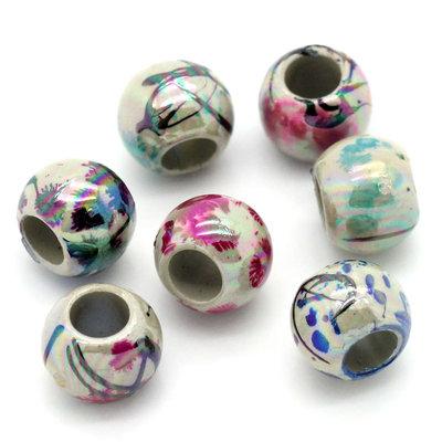 30 Perle acriliche decorate a schizzo 8mm
